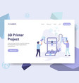 landing page template of 3d printer concept vector image vector image