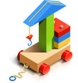 lifting crane wooden toy vector image