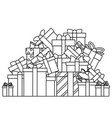 lineart christmas cartoon gift box new year pile vector image vector image