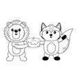 lion and fox cartoon with sweet food design vector image vector image