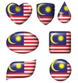 Malaysian Flag in various shape glossy button vector image vector image