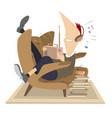 man radio headphones armchair coffee or tea vector image