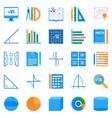 math flat icons colorful mathematics vector image