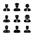 Monochrome people faces of different professions - vector image
