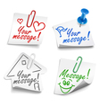 paper notes with push pin and paperclip vector image vector image
