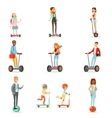 People Riding Electric Self-Balancing Battery vector image