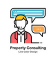 property consulting line color icon vector image