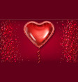red balloon heart on glitter background vector image vector image