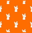 rock and roll hand sign pattern seamless vector image