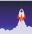rocket launch in space cartoon background vector image