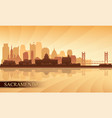 sacramento city skyline silhouette background vector image vector image