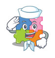 sailor puzzle character cartoon style vector image vector image