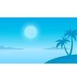 Silhouette of beach with palm scenery vector image vector image