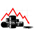 the fall in the price of oil graph and barrels vector image vector image