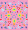trees flowers patterns colored symbols ornament on vector image vector image