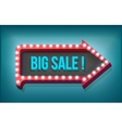 Volume retro arrow with lights Big Sale Word vector image