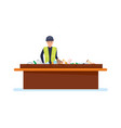 worker sorts out trash on conveyor vector image