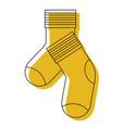yellow watercolor silhouette of pair of socks vector image