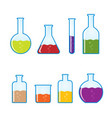chemical tubes icons set vector image