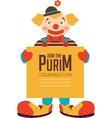 happy purim jewish holiday clown holding vector image