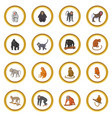 different monkeys icons circle vector image