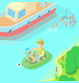 fishing concept cartoon style vector image