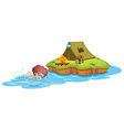 A boy going to the campsite vector image vector image