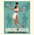beautiful girl dancing merengue with maracas vector image