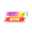 best offer promo sticker with stars advert logo vector image vector image