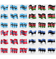 Botswana Kenya Norway Estonia Set of 36 flags of vector image