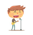 boy playing guitar and siging young musician vector image vector image