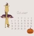 Calendar for October 2014 vector image vector image