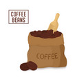 canvas coffee bag with scoop package vector image vector image