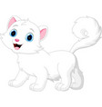 cartoon funny white cat isolated vector image vector image