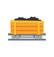 cartoon yellow mine trolley on railway vector image vector image