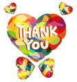 Colorful heart with THANK YOU caption vector image