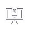 computer advertising line icon concept computer vector image vector image
