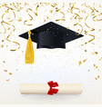 congratulatory banner with a graduate cap and vector image vector image