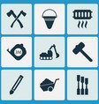 construction icons set with axe pencil vector image