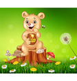 Cute baby bear holding honey on tree stump vector image vector image