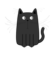 Cute black cartoon cat Big mustache whisker Funny vector image vector image