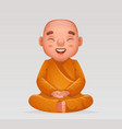 cute buddhist sitting monk traditional asian vector image vector image