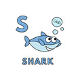 cute cartoon animals alphabet shark vector image