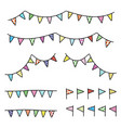 drawing doodle colorful bunting flag trian vector image vector image