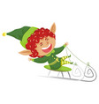 elf riding sleds and laughing xmas dwarf pixie vector image vector image