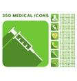Empty Syringe Icon and Medical Longshadow Icon Set vector image