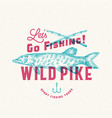 fishing wild pike abstract sign symbol or vector image