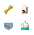 flat icon pets set of bird prison osseous fish vector image vector image