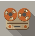 Flat long shadow tape recorder vector image vector image