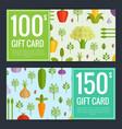 flat vegetables vegan shopping voucher vector image vector image